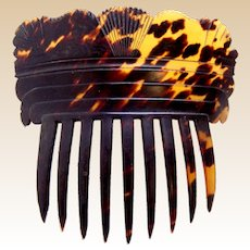 Victorian hair comb natural tortoiseshell Spanish style hair accessory