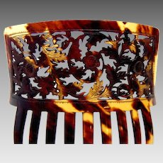 Victorian Spanish style hair comb pierced natural tortoiseshell hair accessory