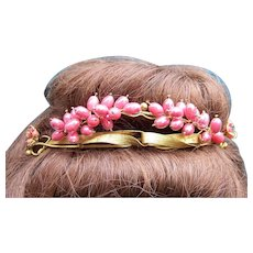 Victorian tiara gilded metal and faux coral hair accessory headdress