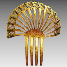 Art Deco hair comb Spanish style confetti Lucite hair accessory