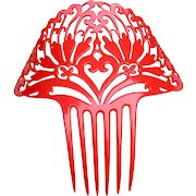 Oversized Art Deco hair comb red celluloid Spanish style hair accessory