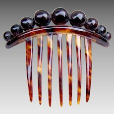 Victorian faux tortoiseshell hair comb with balls decoration hair accessory