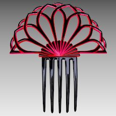 Art Deco hair comb red black celluloid Spanish style hair accessory