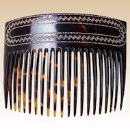Victorian hair comb faux tortoiseshell pique inlay hair accessory