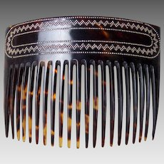 Victorian hair comb faux tortoiseshell pique inlay hair accessory