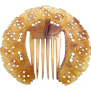 Victorian hair comb circular carved openwork steer horn hair accessory