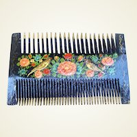 Hand painted wooden Middle Eastern dressing comb birds design