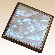 Vintage Melissa powder compact mid century mother of pearl