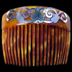 Art Nouveau hair comb sterling silver embellished hair accessory 1907/8