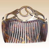 Art Nouveau hair comb swirled brass openwork design hair accessory