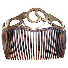 Art Nouveau hair comb swirled brass openwork design hair accessory
