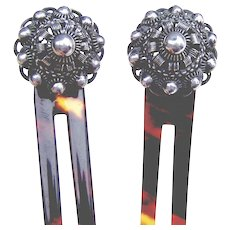 Matched pair hair combs Norwegian silver wire work hair accessories