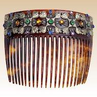 Late Victorian hair comb multi colour rhinestone hair accessory