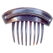Victorian tortoiseshell hair comb gold pique hinged hair accessory