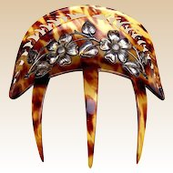 Art Nouveau hair comb faux tortoiseshell silver embellishment hair accessory