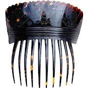 Georgian tortoiseshell hair comb Spanish style hair accessory with silver pique inlay