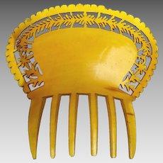 Victorian pierced steer horn hair comb Spanish style hair accessory