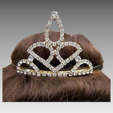 Vintage bridal rhinestone tiara mid century summer wedding headdress hair accessory