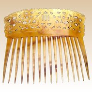 Regency steer horn hair comb Spanish mantilla style hair accessory