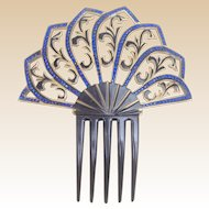 Art Deco celluloid hair comb blue rhinestone Spanish style hair accessory