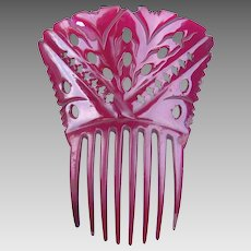Dyed red horn hair comb Spanish mantilla style Victorian hair accessory