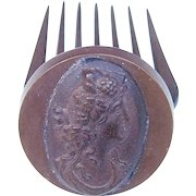 Victorian mourning hair comb Vulcanite cameo hair accessory