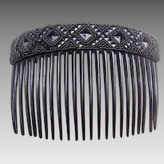 Victorian mourning hair comb French Jet hair accessory