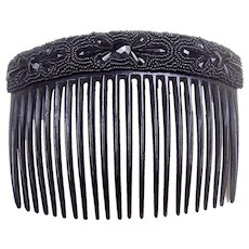 Victorian Mourning Hair Comb French Jet Celluloid Hair Accessory