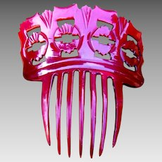 Victorian red dyed steer horn hair comb Spanish style hair accessory
