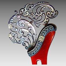 Victorian hair comb asymmetric pierced silver tone hair accessory