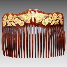 Victorian hair comb with gold figural butterfly hair accessory