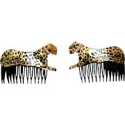 Matched pair figural leopard hair combs 1980s hair accessories
