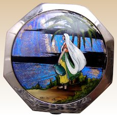 Vogue miniature powder compact Art Deco butterfly wing