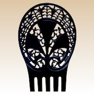 Art Deco hair comb black celluloid hair accessory