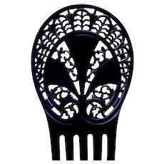 Art Deco hair comb black celluloid hair accessory