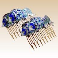 2 Vintage hair comb blue cloisonné enamel fish hair accessory