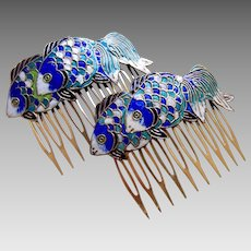 2 Vintage hair comb blue cloisonné enamel fish hair accessory