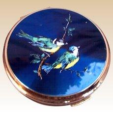 Stratton powder compact mid century enamel birds design