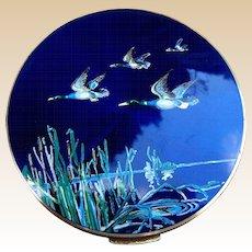 Stratton powder compact mid century enamel figural birds