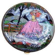Gwenda powder compact 1930s foiled, crinoline lady