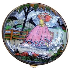 Gwenda powder compact 1930s foiled, crinoline lady