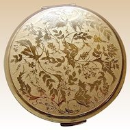 Stratton powder compact mid century engraved foliage
