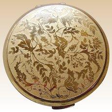 Stratton powder compact mid century engraved foliage