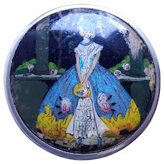 Coty miniature powder compact Art Deco butterfly wing 1930s