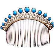 Regency fire gilded tiara comb faux turquoise opaline glass hair accessory