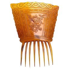 Victorian pressed steer horn hair comb Spanish mantilla hair accessory