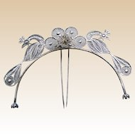 Tiara hair comb silver tone metal filigree figural birds hair accessory