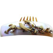 Victorian hinged hair comb mother of pearl gilded leaves hair accessory