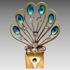Art Nouveau hair comb hinged peacock stones hair accessory