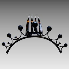 Victorian tiara style hair comb spiky gothic design hair accessory